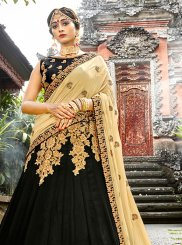 Designer Lehenga Choli Embroidered Art Silk in Black