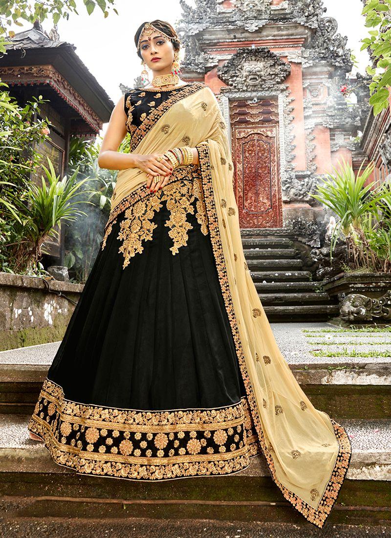 Designer Lehenga Choli Embroidered Art Silk in Black