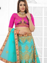 Designer Lehenga Choli Embroidered Art Silk in Pink