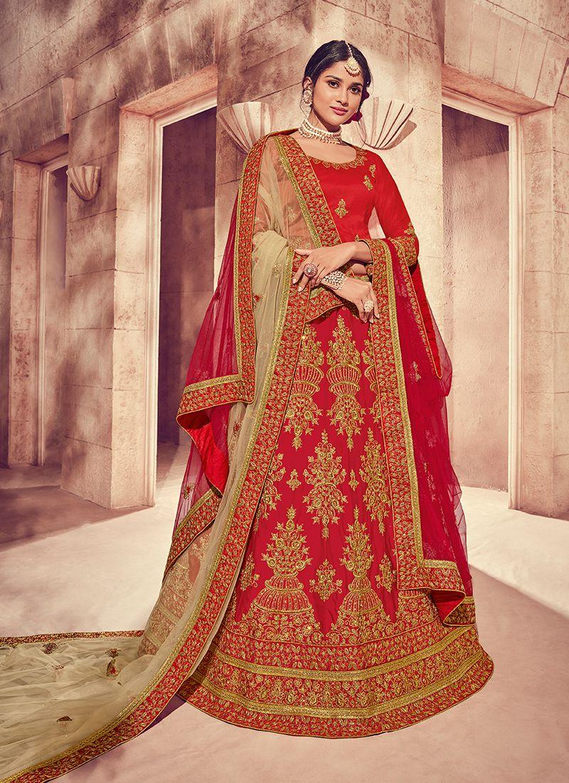 Designer Lehenga Choli Embroidered Art Silk in Red