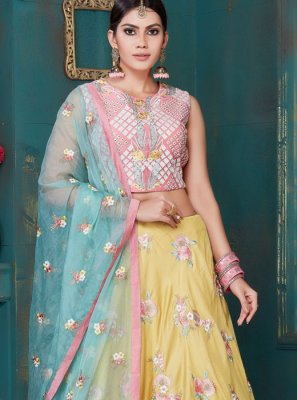 Designer Lehenga Choli Embroidered Art Silk in Yellow