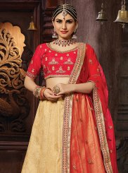 Designer Lehenga Choli Embroidered Banarasi Silk in Beige