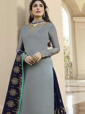 Designer Lehenga Choli Embroidered Georgette Satin in Grey