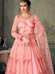 Designer Lehenga Choli Embroidered Net in Pink