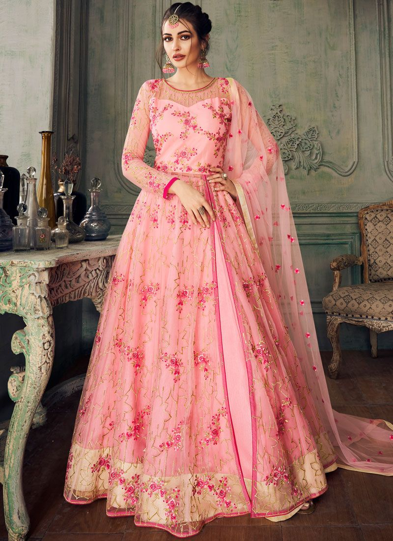 Designer Lehenga Choli Embroidered Net in Pink
