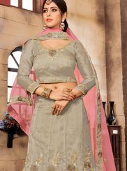 Designer Lehenga Choli Embroidered Organza in Grey