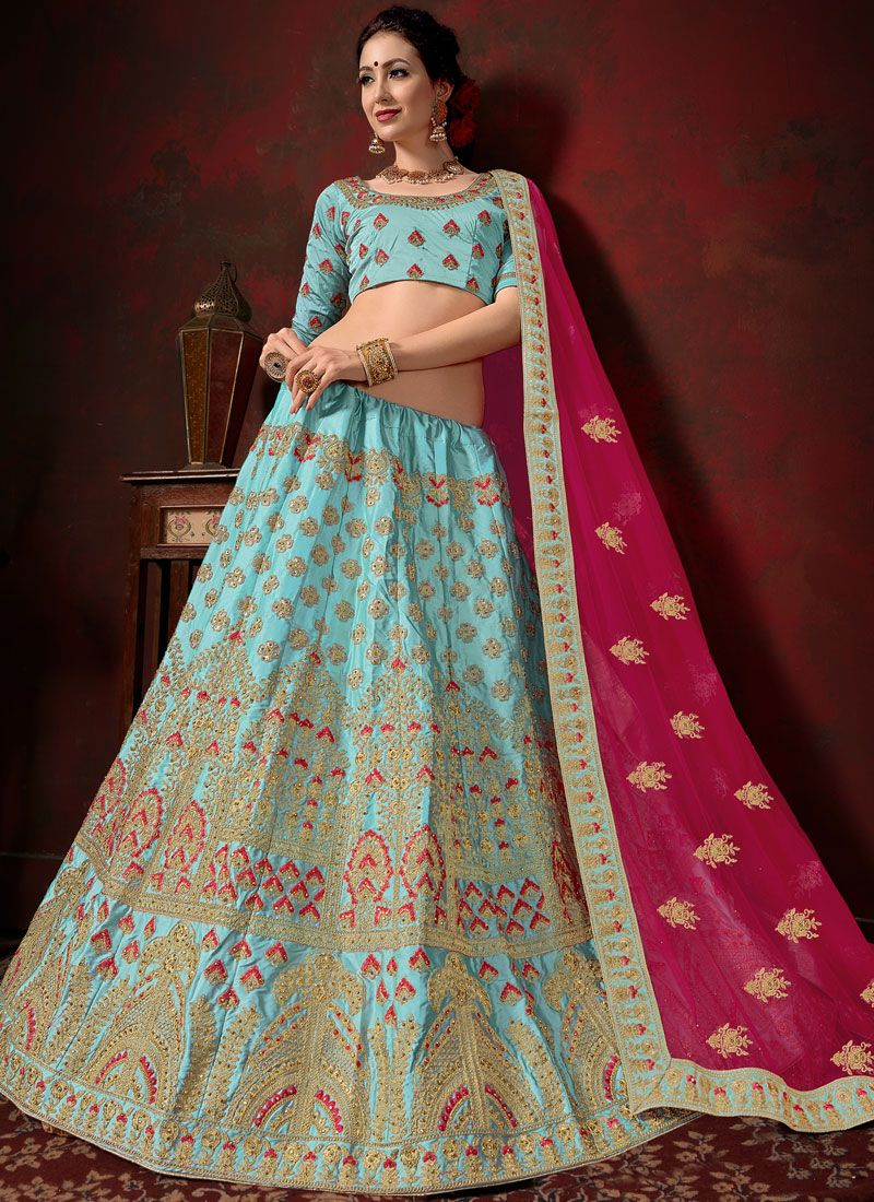 Designer Lehenga Choli Embroidered Satin in Aqua Blue