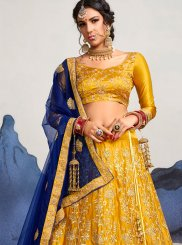 Designer Lehenga Choli Embroidered Satin Silk in Mustard