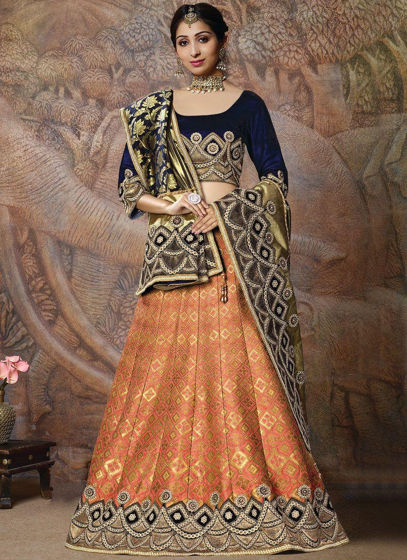 Designer Lehenga Choli Embroidered Silk in Orange