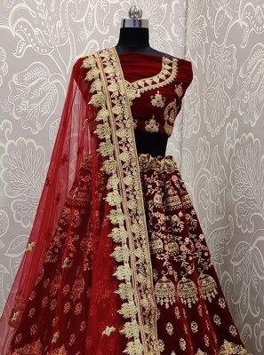 Designer Lehenga Choli Embroidered Velvet in Maroon