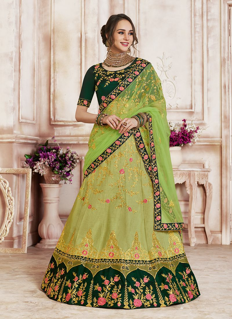 Designer Lehenga Choli Patch Border Art Silk in Green
