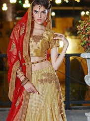 Designer Lehenga Choli Zari Art Silk in Beige