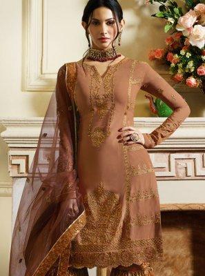 Designer Pakistani Suit Embroidered Satin in Rust