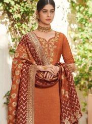 Designer Pakistani Suit Resham Art Silk in Orange