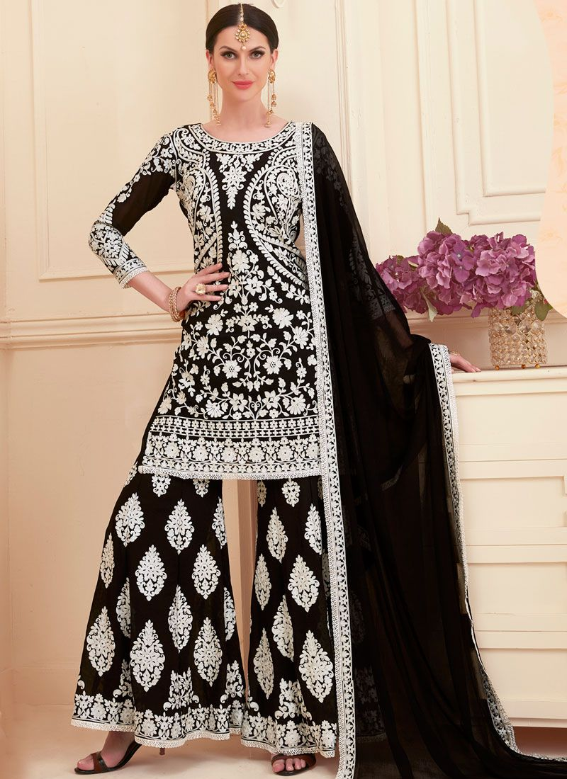 Designer Pakistani Suit Resham Faux Georgette in Black