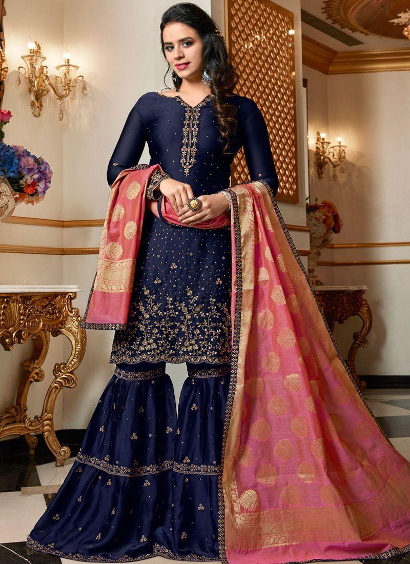 Designer Pakistani Suit Resham Georgette Satin in Blue