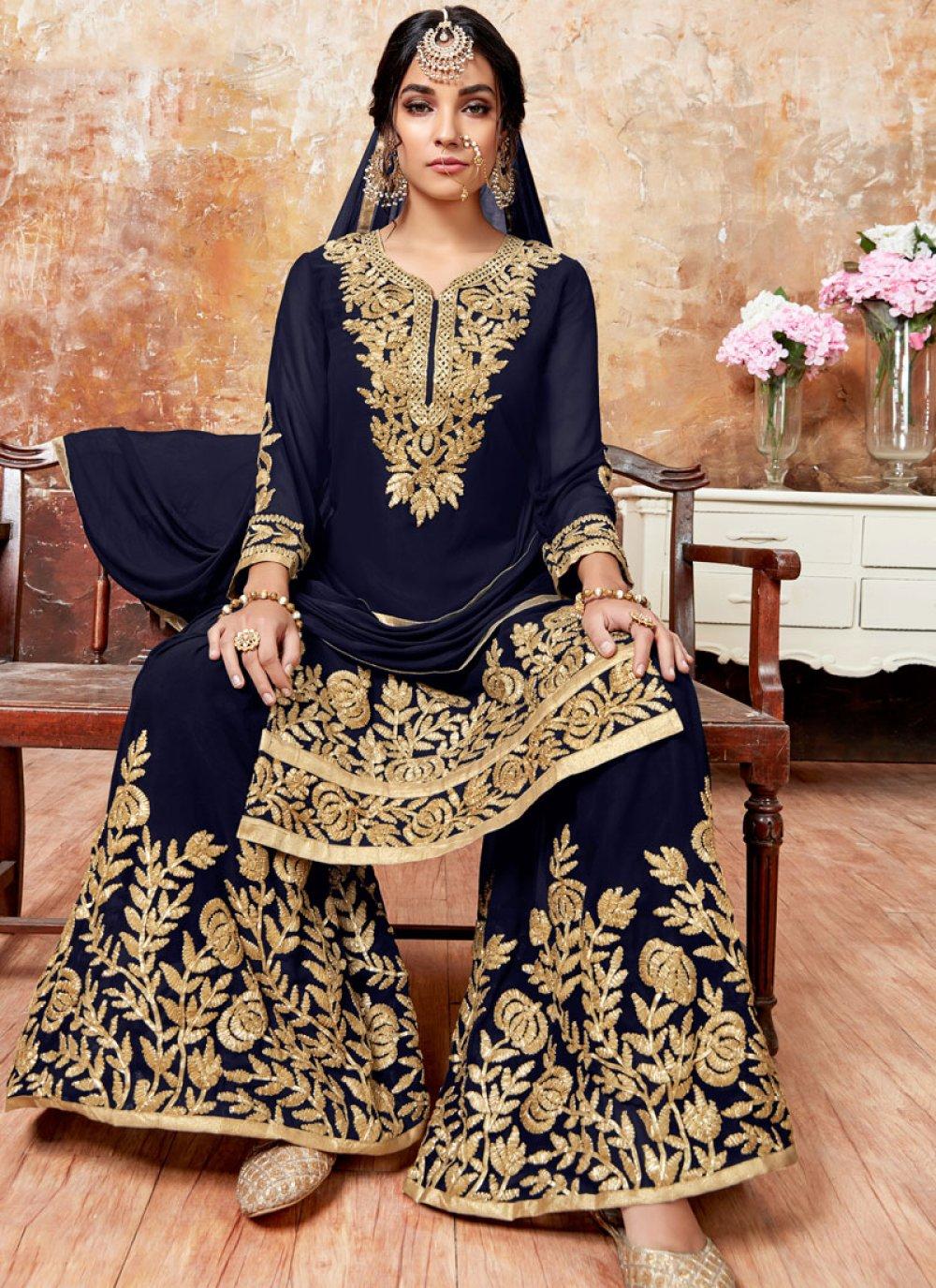 Designer Pakistani Suit Zari Faux Georgette in Blue