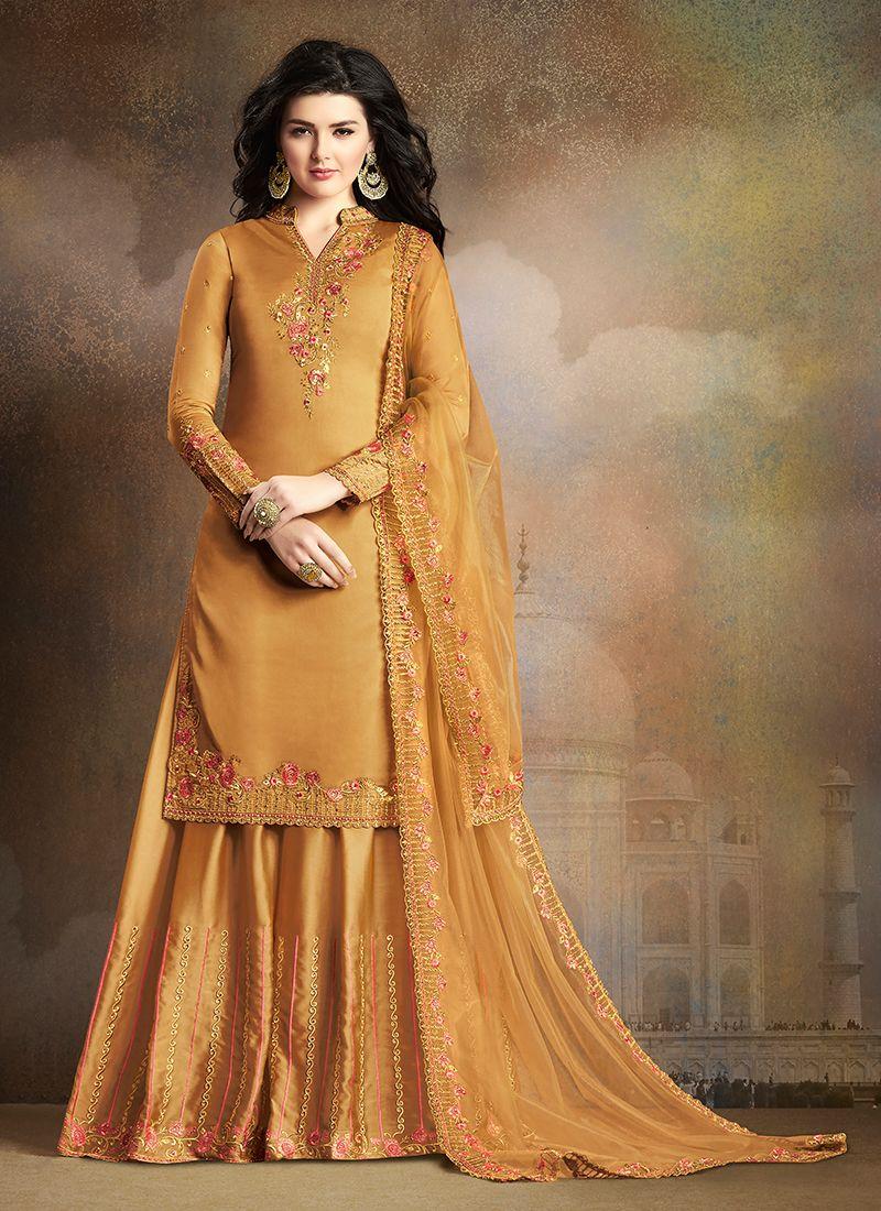 Designer Palazzo Salwar Kameez Embroidered Art Silk in Mustard