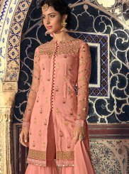 Designer Palazzo Salwar Kameez Embroidered Net in Pink