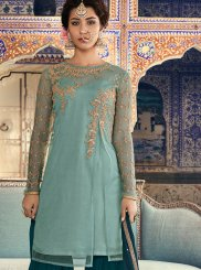 Designer Palazzo Salwar Kameez Embroidered Net in Turquoise