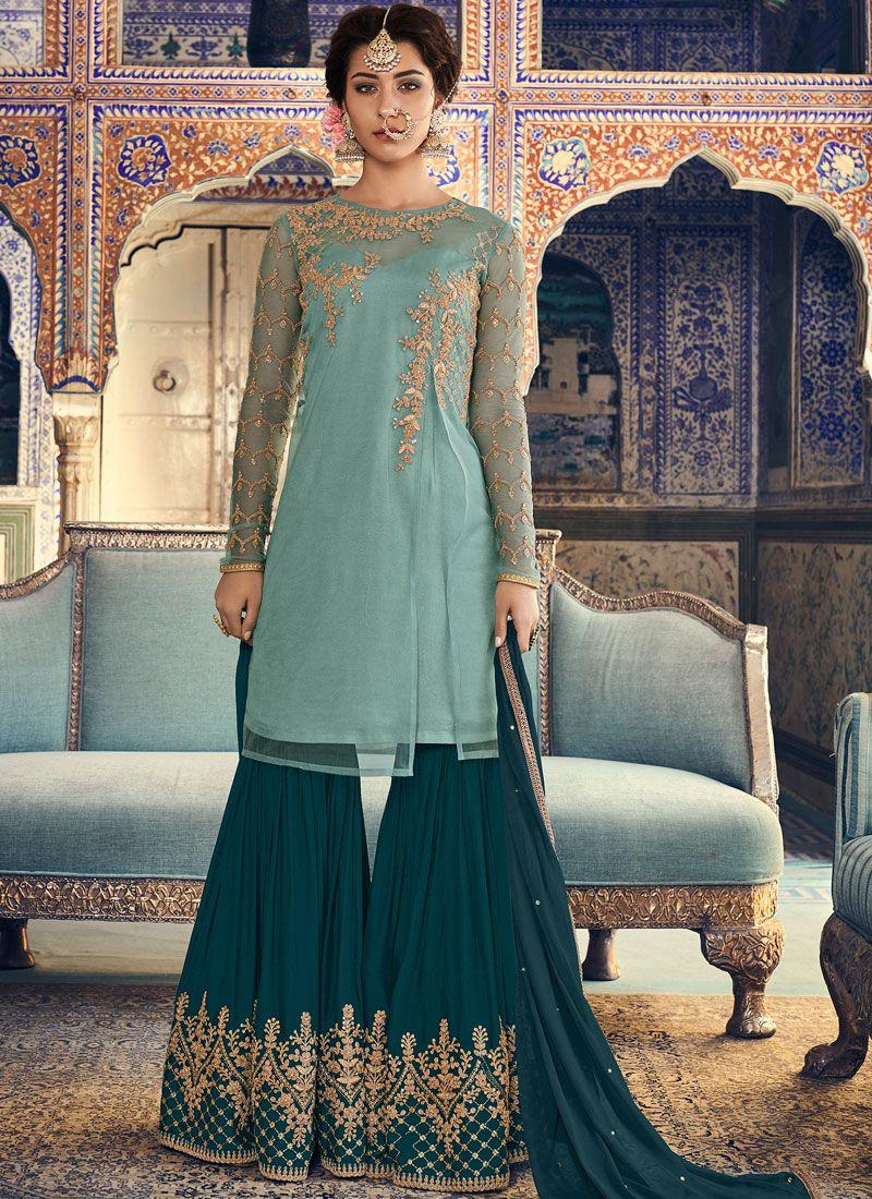 Designer Palazzo Salwar Kameez Embroidered Net in Turquoise