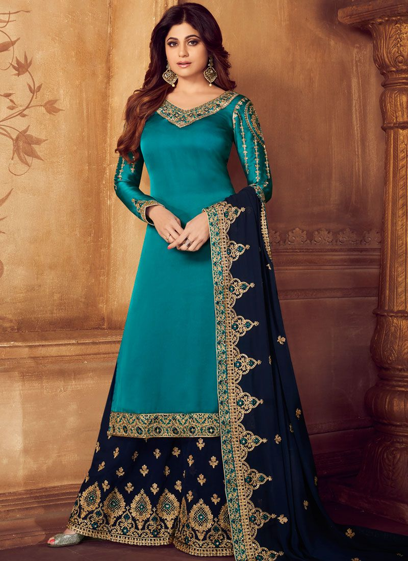 Designer Palazzo Salwar Suit Embroidered Georgette in Turquoise