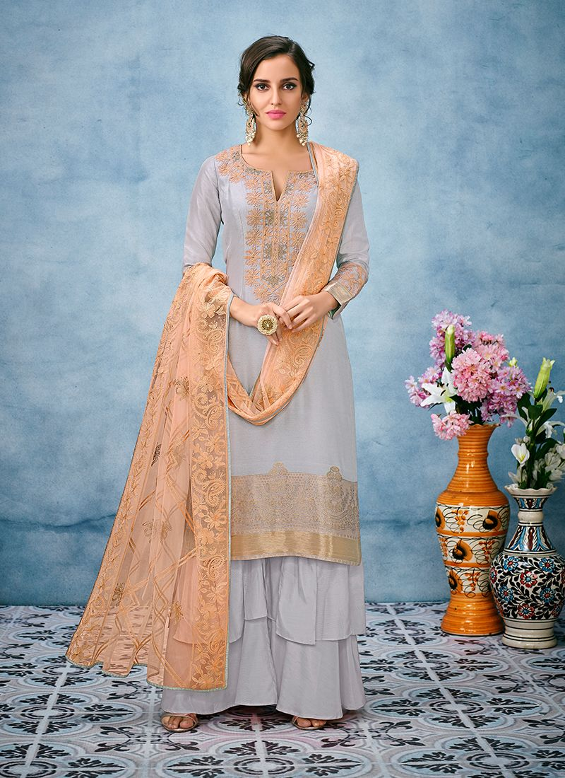 Designer Palazzo Salwar Suit Embroidered Jacquard Silk in Grey
