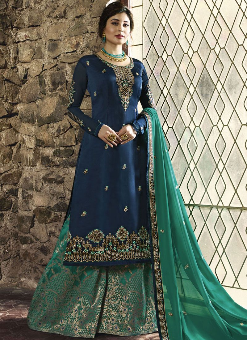 Designer Palazzo Salwar Suit Embroidered Satin in Blue