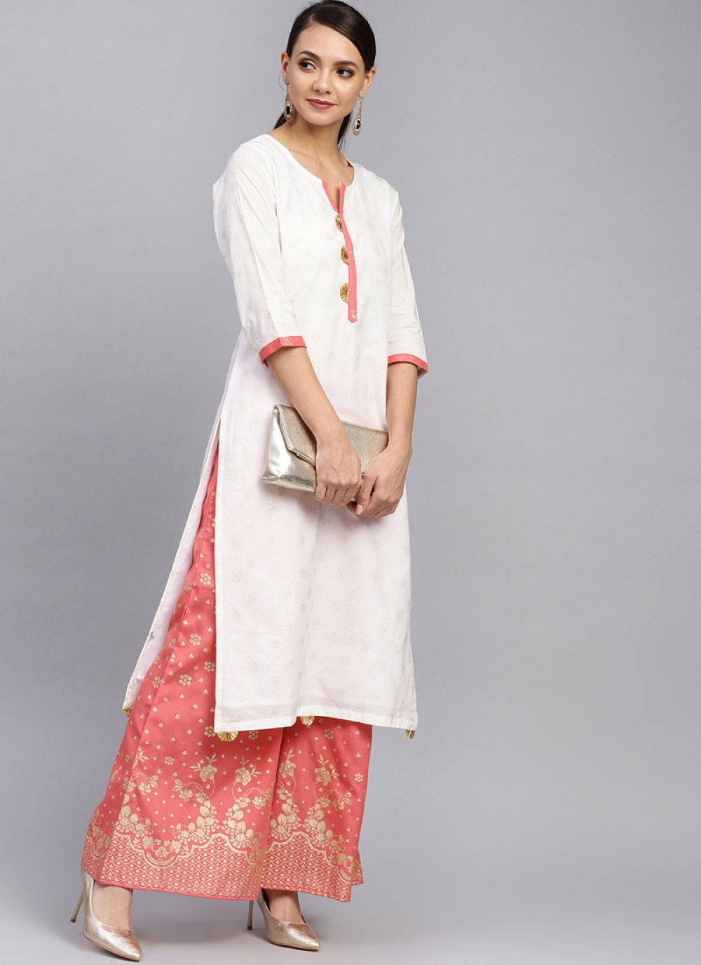 Designer Palazzo Salwar Suit Foil print Cotton in White