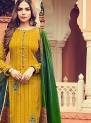 Designer Palazzo Suit Embroidered Cotton in Mustard