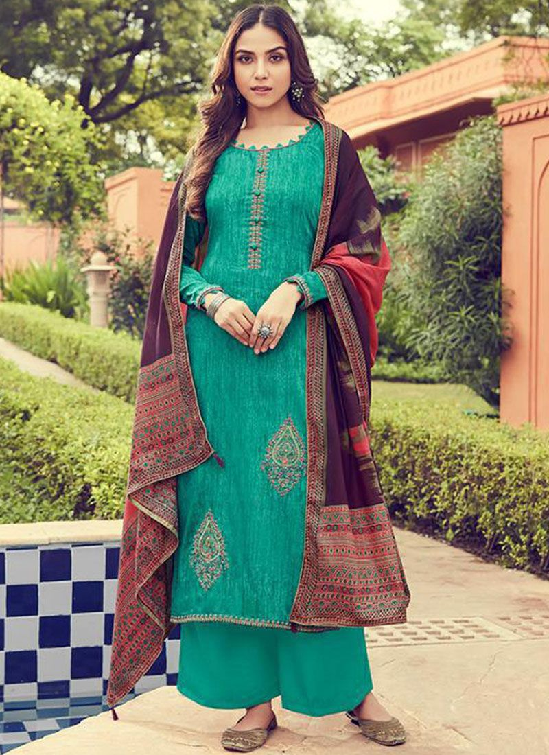 Designer Palazzo Suit Embroidered Cotton in Sea Green
