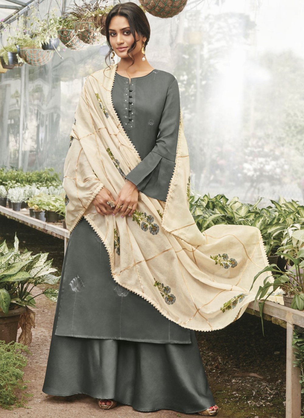 Designer Palazzo Suit Embroidered Cotton Satin in Grey