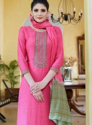 Designer Palazzo Suit Embroidered Cotton Silk in Hot Pink