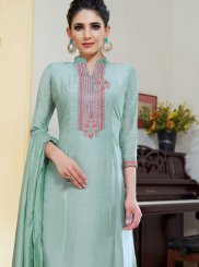 Designer Palazzo Suit Embroidered Cotton Silk in Sea Green