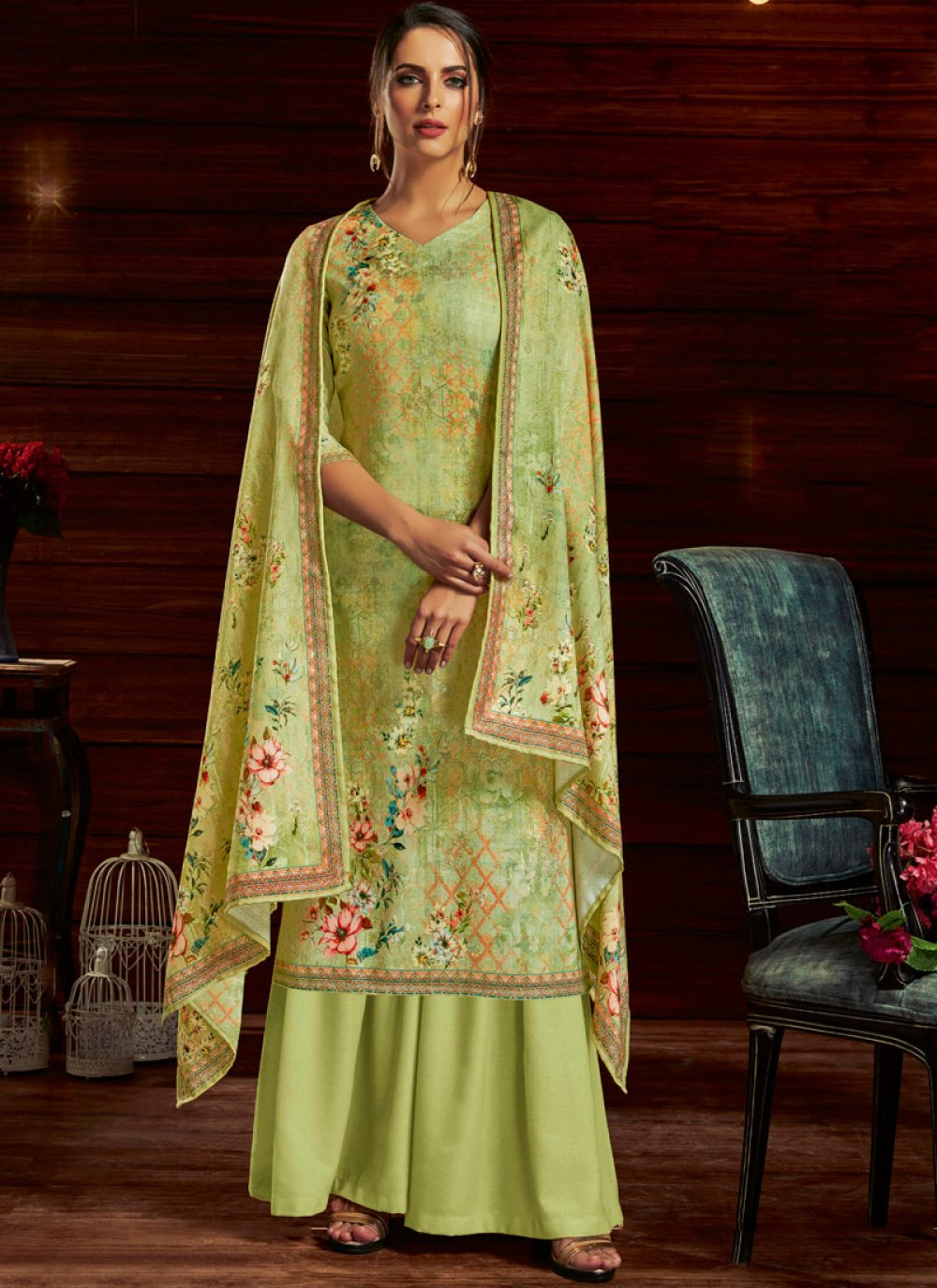 Designer Palazzo Suit Embroidered Jacquard in Green