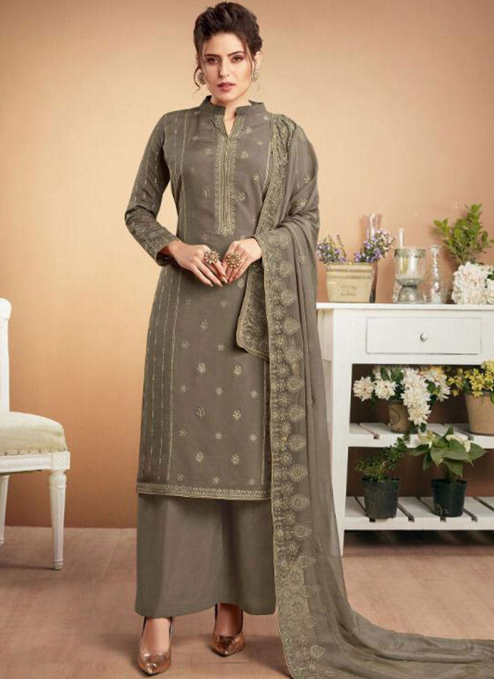 Designer Palazzo Suit Embroidered Muslin in Grey
