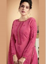 Designer Palazzo Suit Embroidered Muslin in Hot Pink