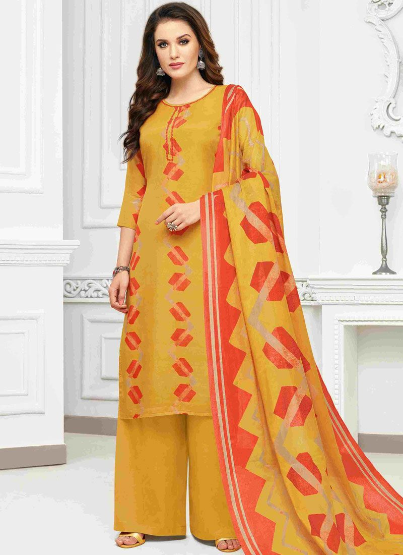 Designer Palazzo Suit Print Cotton in Yellow