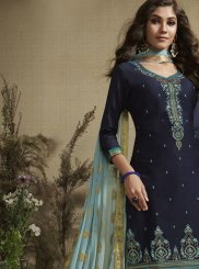 Designer Patiala Salwar Kameez Embroidered Cotton Silk in Navy Blue