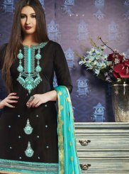 Designer Patiala Suit Embroidered Satin in Black