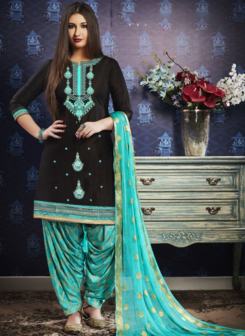 Designer Patiala Suit Embroidered Satin in Black