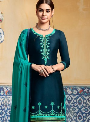 Designer Patiala Suit Embroidered Satin in Blue