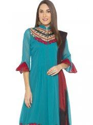 Designer Salwar Kameez Printed Georgette in Turquoise
