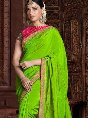 Designer Saree Embroidered Art Silk in Green