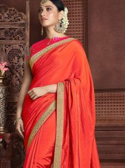 Designer Saree Embroidered Art Silk in Pink