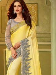 Designer Saree Embroidered Art Silk in Yellow