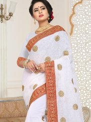 Designer Saree Embroidered Faux Georgette in White