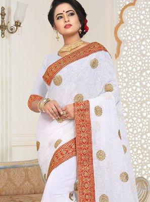 Designer Saree Embroidered Faux Georgette in White