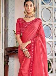 Designer Saree Embroidered Rangoli in Rose Pink