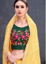 Designer Saree Lace Georgette in Yellow